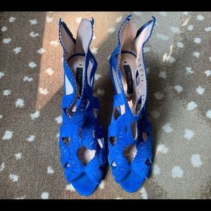 Royal Blue Zara Suede High Heels